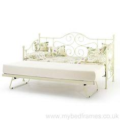 Florence ornate metal #daybed in ivory - mybedframes.co.uk