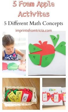 """Five foam apple math activities that would be great to build Kindergarteners understanding of """"more than"""" and """"less than."""""""