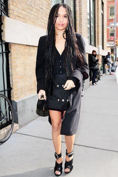 Zoë Kravitz Reimagines The Business Suit For Spring #refinery29  http://www.refinery29.com/2015/04/86015/zoe-kravitz-mini-skirt-outfit