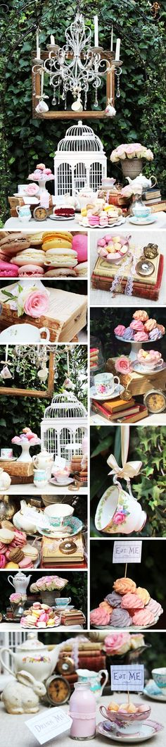 For Alice in Wonderland wedding. (I would use it for a birthday party. I have always wanted to attend or throw an Alice in Wonderland party! Mad Hatter Party, Mad Hatter Tea, Mad Hatters, Alice Tea Party, Alice In Wonderland Tea Party, Tea Party Bridal Shower, Deco Floral, Festa Party, Party Decoration