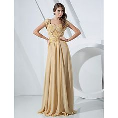 TS+Couture®+Formal+Evening+/+Military+Ball+Dress+-+Elegant+Plus+Size+/+Petite+Sheath+/+Column+Off-the-shoulder+Floor-length+Chiffon+with+Beading++–+AUD+$+142.99