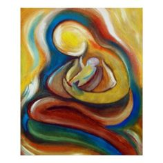 Mother and child embrace. Abstract art.
