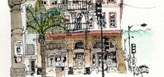 Beautiful buildings from around the world (and Somerset) drawn with a little eccentricity. Drawings, prints and canvases. Architecture Sketches, Illustration Art, Illustrations, Art Station, Urban Sketchers, Beautiful Buildings, Watercolours, Art Techniques, Artsy Fartsy