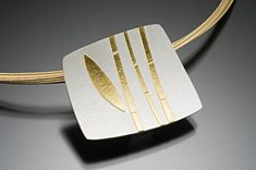 Bamboo Pendant by Tom McGurrin: Silver & Gold Necklace available at www.artfulhome.com