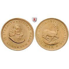 Südafrika, Republik, Rand 1961-1983, 3,66 g fein, vz-st: Republik seit 1961. Rand 19 mm 3,66 g fein, 1961-1983. van Riebeck /… #coins