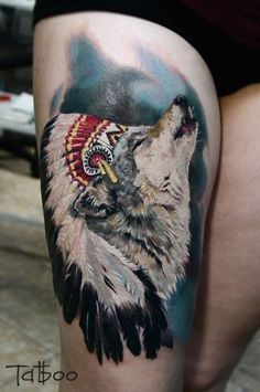 Wold and feather head dress #TattooModels #tattoo