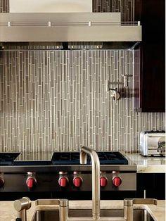 Horizontal Glass Tile Backsplash kitchen idea of the day: modern white kitchen with horizontal tile