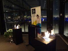 DIA Spring Dinner 2012 - Designer Fire 'Santa Cruz' fireplaces next to podium