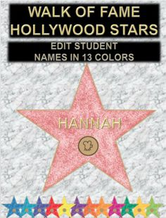 WALK OF FAME! Make each of your kids a star for your Hollywood or movie theme classroom! I created this graphic to look exactly like the stars on the Hollywood walk of fame. There is a pre-formatted text box ready for you to enter the names of your students. These would be great for