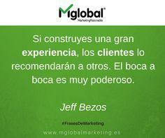 Si construyes una gran experiencia, los clientes lo recomendarán a otros.  El boca a boca es muy poderoso.  Jeff Bezos  #FrasesDeMarketing #MarketingRazonable #MarketingQuotes