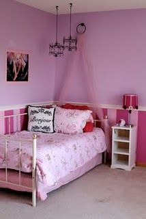 Paris girl's bedroom.  Like the wall colours