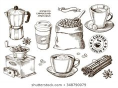 Find Hand Drawn Coffee Set stock images in HD and millions of other royalty-free stock photos, illustrations and vectors in the Shutterstock collection. Pirate Font, Fountain Pen Drawing, Coffee Png, Desserts Drawing, Architecture Drawing Sketchbooks, Food Sketch, Coffee Drawing, Art Diary, Latte