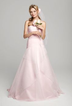 PINK WEDDING DRESSES FROM SPRING 2013 Pink Wedding Dress: David's Bridal Style WG3412, $499, David's Bridal