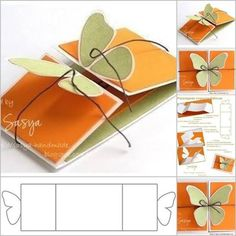 65 ideas for origami tutorial step by step pop up cards Diy Butterfly, Butterfly Cards, Butterfly Wings, Butterfly Kisses, Butterflies, Greeting Card Template, Card Templates, Diy Papillon, Borboleta Diy