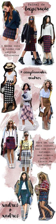 Painel de inspiração com looks com saia xadrez. Mini saia, saia midi, todos os estilos. - Plaid skirt, chess skirt.