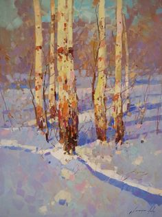"""Saatchi Art Artist Vahe Yeremyan; Painting, """"Winter Time, landscape oil painting, impressionism, one of a kind"""" #art"""