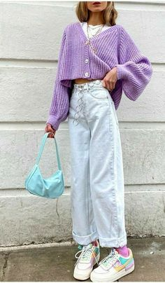 Retro Outfits, Purple Outfits, Tomboy Outfits, Indie Outfits, Cute Casual Outfits, Girl Outfits, Fashion Outfits, Fashion Tips, Grunge Outfits