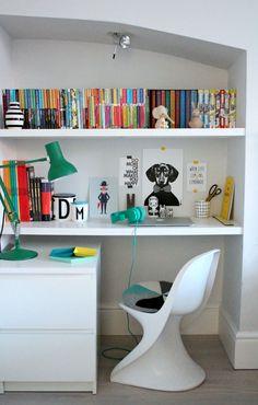 Shelves doubled up as desk. Graduate the depth Bedroom Workspace, Kids Workspace, One Bedroom, Kids Bedroom, Bookshelf Desk, Interior Exterior, Kid Spaces, Room Decor, Decoration