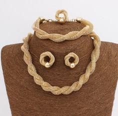 Choker Necklace Vintage Chain Necklace Bracelet Earring Ring Jewelry Set JW1J015 #Unbranded
