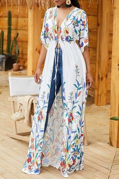 [£ Tropical Print Sexy Bohemian Cover-ups Swimsuits - VeryVoga Hijab Fashion, Fashion Dresses, Mode Kimono, Half Sleeves, Types Of Sleeves, Casual Outfits, Cute Outfits, Perfect Prom Dress, African Dress