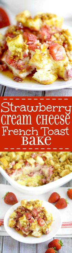 Have cheesecake for breakfast with Strawberry Cream Cheese French Toast Bake! Filled with fresh strawberries, creamy cheesecake spread, and a graham cracker topping! A delicious overnight, make ahead breakfast casserole recipe that's great for the holidays, Christmas, and busy mornings!