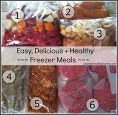 Meals that can be made in the Crockpot, Baked or Grilled with Lists and Preparation tips!Easy, Delicious + Healthy Freezer Meal Planning + Cooking - Claire's Healthy Home