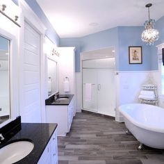 Gray floor tile, I love the way it looks with the blue and white walls!