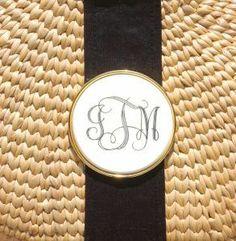 Monogrammed scrimshaw basket