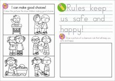 Explain the purpose of rules and laws, and discuss consequences of breaking them. School Rules Activities, Kindergarten Rules, Kindergarten Social Studies, Social Studies Worksheets, Classroom Rules, School Worksheets, Kindergarten Worksheets, Classroom Activities, Sunday School Rules
