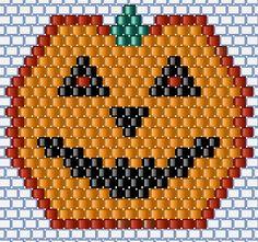 75marghe75 Bead By Bead: Tema Halloween: schema zucca halloween a brick stitch