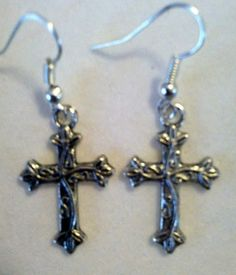 FREE S/H! Pair Silver Cross Dangle Earrings!. Starting at $4 on Tophatter.com!