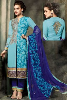 Sky Blue Faux #Georgette Embroidered Festival Churidar Kameez Sku Code:223-5433SL693554 US $ 74.00 http://www.sareez.com/product_info.php?products_id=168988