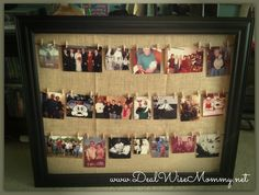 Homemade Clothesline Style Framed Photo Collage