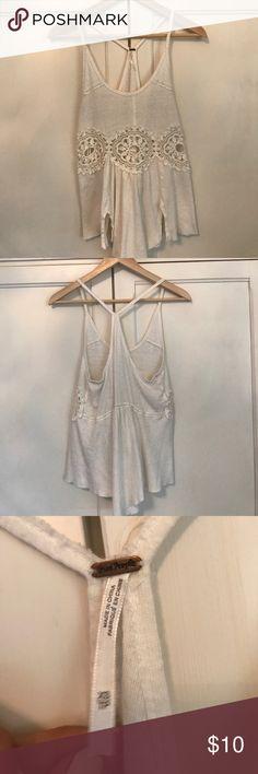 White boho tank top! White boho tank with gorgeous floral cut out! In excellent condition! Free People Tops Tank Tops