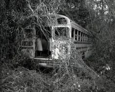 Kudzu: the vine that ate the south - and a school bus, too! (When I was a kid visiting my grandparents in VA, my brother used to tell me that the kudzu would get me if I stayed in one place too long outdoors. I believed him. Brothers are jerks! Abandoned Buildings, Abandoned Train, Abandoned Houses, Abandoned Places, Old Houses, Urban Art, Urban Decay, Creepy, Cool Photos