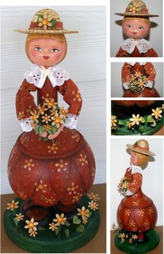 Garden Girl with Daisies in Spring 2013 Art Doll Quarterly