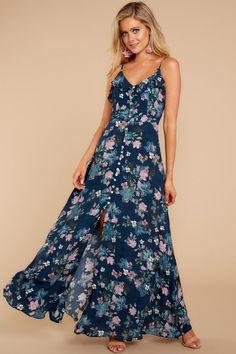 fe2a312d685 Chic Navy Floral Print Maxi Dress - Adorable Floral Print Dress - Dress -   64.00 –