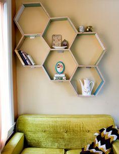 Honeycomb storage shelves.