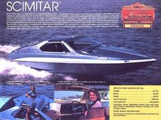 In the last 30 years of boat design, I am not sure there is one model that is as eye catching and awe inspiring as the Glastron Carlson Scimitar Speed Boats, Power Boats, Mako Boats, Boat Restoration, Runabout Boat, Classic Wooden Boats, Boat Insurance, Cabin Cruiser, Vintage Boats