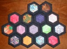 framed with fabric but scrapbook paper would work. I have the hexagon cutting template by creative memories. for wall decor. Paper Piecing Patterns, Quilt Patterns, Quilt As You Go, Cute Quilts, Quilting Tips, Hexagon Quilting, Hexagon Pattern, Creative Memories, English Paper Piecing
