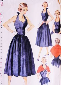 1950s Lovely Sun Dress or Cocktail Party Dress and Scarf Pattern SIMPLICITY 3548 Sweetheart Neckline Halter Top Dress Bust 32 Vintage Sewing Pattern