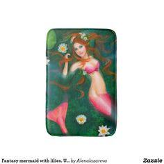 Fantasy mermaid with lilies. Underwater Bath Mat
