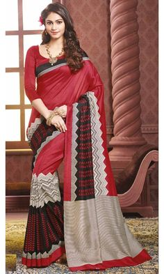 Buy Black and Red Bhagalpuri Printed Saree at Discounted Prices…