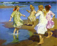 Girls at the Beach, Edward Potthast, Private collection, oil on canvas