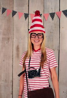 Last Minute Halloween Costumes | Papa Ben's Kitchen - Put those stripes in your closet to use and dig out your camera, you know you have it somewhere. Add a messenger bag and Voila! Waldo.