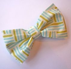 Blue and green basket weave lines Bow Tie. $11.00, via Etsy.