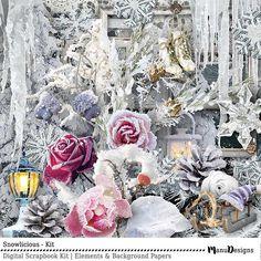 Winter Digital Scrapbook Kit Snowlicious #winter #digitalwinter #digital #scrapbooking #craft #ice #january #graphics #clipart