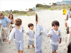 seersucker little vest suits for beach wedding!! LOVE IT!!!