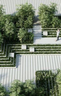 contemporary hard landscaping || Magic Breeze Landscape Design by Penda #LandscapingArchitecture