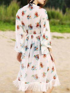 Long Sleeve Floral Print Waisted Long Cardigan #womensfashion #pinterestfashion #buy #fun#fashion